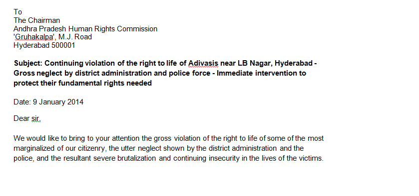 LB Nagar Adivasis petition
